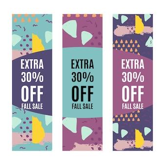Conjunto de modelo de design de promoção de banners de venda