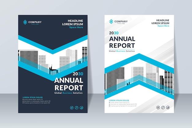Conjunto de modelo de design de relatório anual corporativo azul