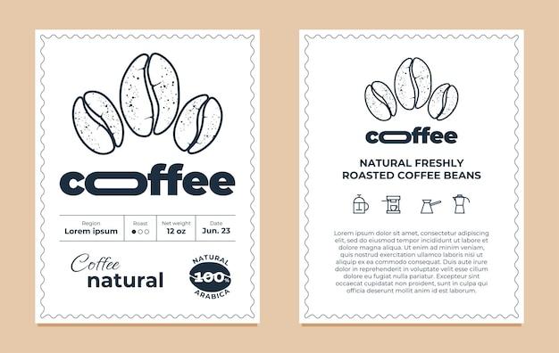 Conjunto de modelo de design de rótulo de embalagem de café natural gráfico moderno tag ou adesivo para logotipo da marca