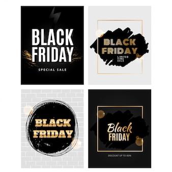 Conjunto de modelo de design de sexta-feira negra