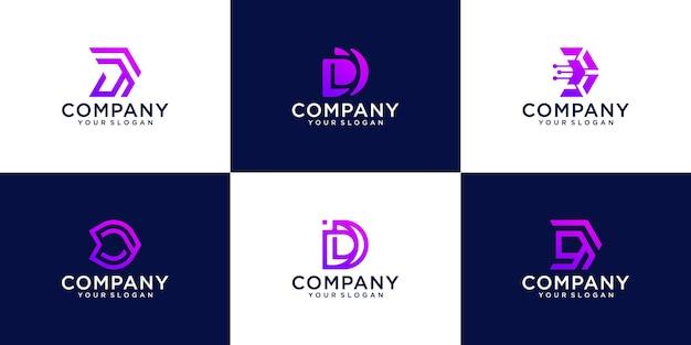 Conjunto de modelo de design de tecnologia de logotipo de letra d monograma abstrato