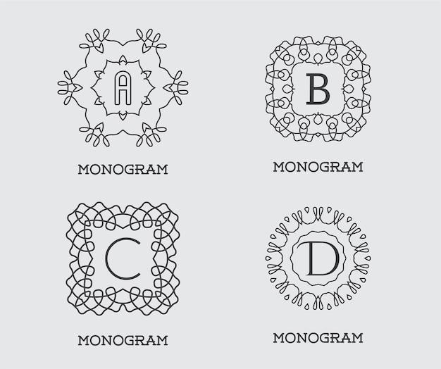 Conjunto de modelo de design do monograma. carta ilustração vetorial qualidade elegante premium. pacote de coleção.
