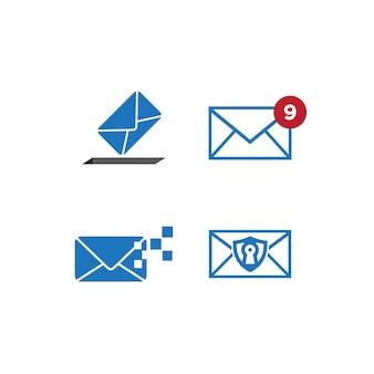 Conjunto de modelo de design gráfico de correio