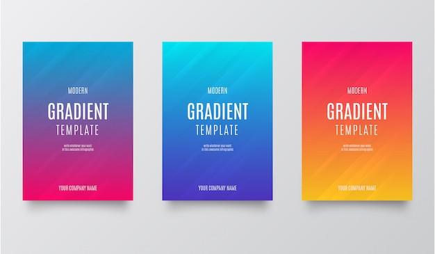 Conjunto de modelo de design moderno fundo gradiente de cor