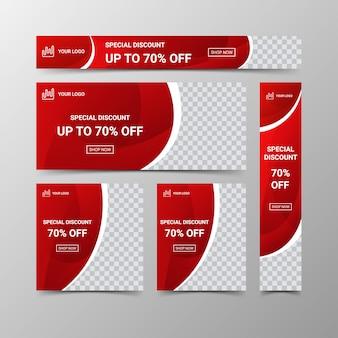Conjunto de modelo de design moderno web banners