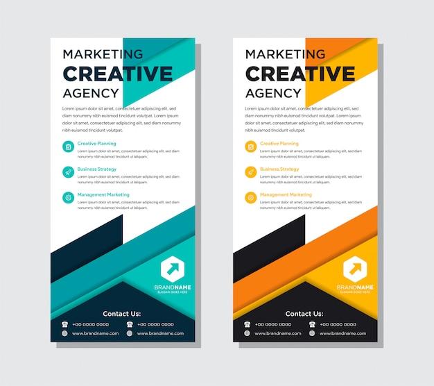 Conjunto de modelo de design plano de panfleto de negócios. abstratas cores azuis e laranja.