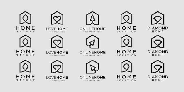 Conjunto de modelo de designs de logotipo para casa.