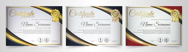 Conjunto de modelo de diploma de prêmio melhor certificado de associação.