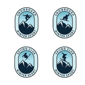 Conjunto de modelo de distintivo de esporte de inverno
