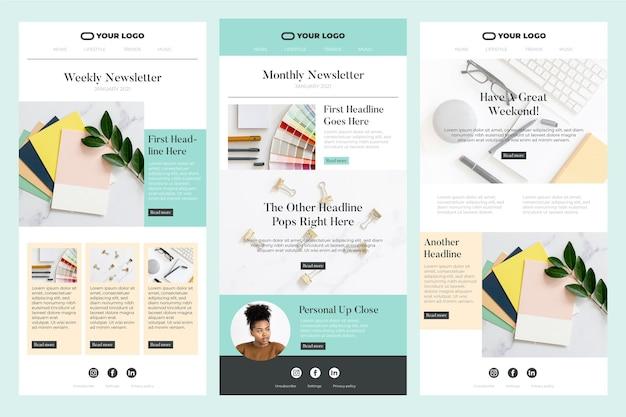 Conjunto de modelo de e-mail do blogger