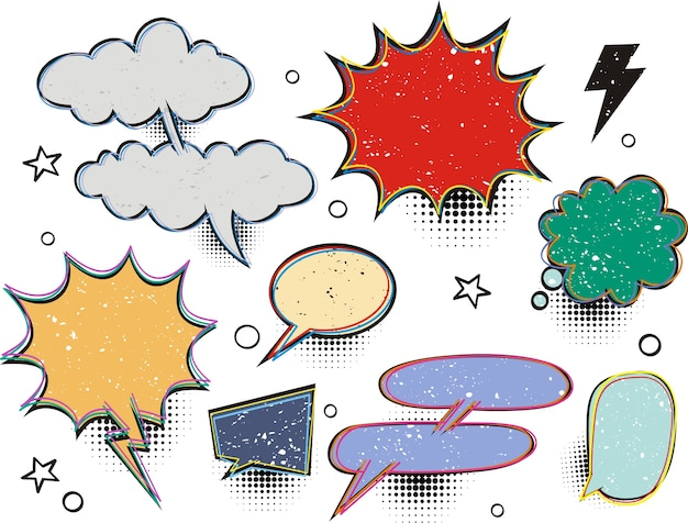 Conjunto de modelo de efeitos em branco discurso em quadrinhos bolhas meio-tom ponto fundo estilo pop art