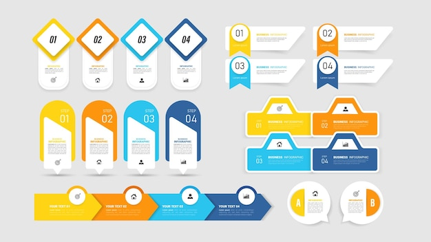 Conjunto de modelo de elemento de infográficos