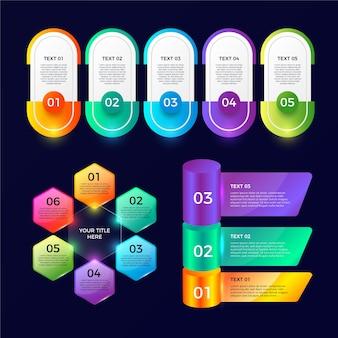 Conjunto de modelo de elementos infográfico lustroso realista