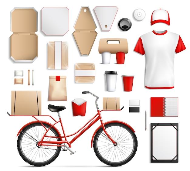 Conjunto de modelo de embalagem de comida de rua