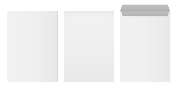 Conjunto de modelo de envelopes de papel em branco branco.