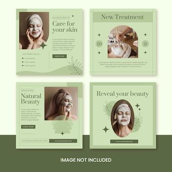 Conjunto de modelo de feed de postagem do instagram de mininalista de cuidados com a pele de beleza