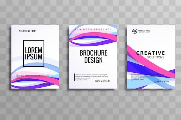 Conjunto de modelo de folheto colorido abstrato onda empresarial