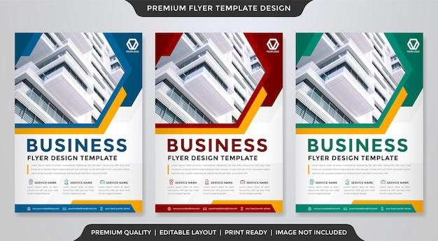 Conjunto de modelo de folheto com estilo minimalista e conceito moderno para apresentação de negócios e kit de promoção de produtos