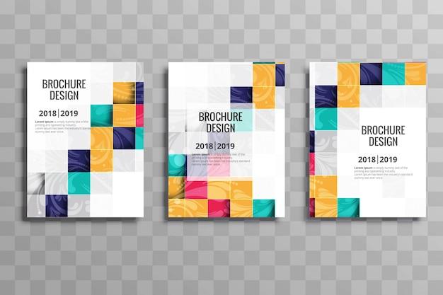 Conjunto de modelo de folheto de mosaico colorido abstrato negócios