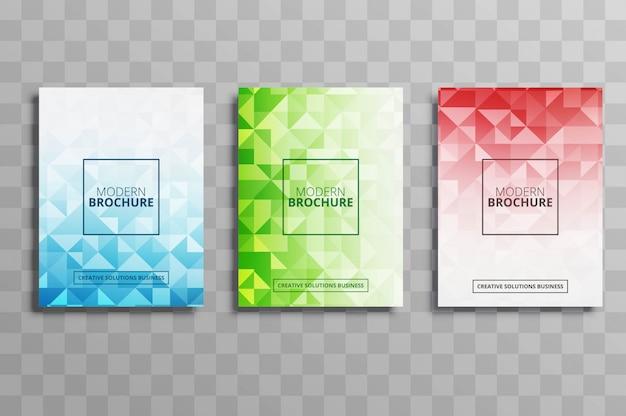 Conjunto de modelo de folheto de negócios abstrato polígono colorido