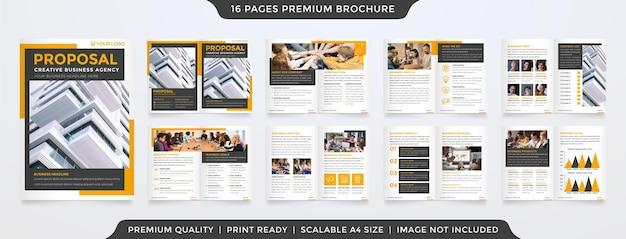 Conjunto de modelo de folheto de negócios bifold com conceito moderno
