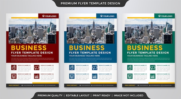 Conjunto de modelo de folheto de negócios com layout moderno