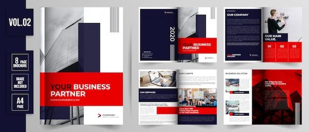 Conjunto de modelo de folheto de negócios de página