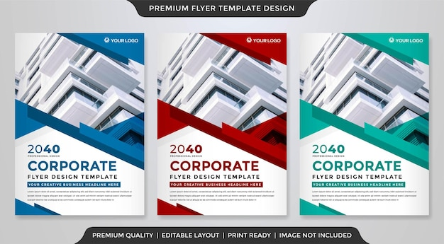Conjunto de modelo de folheto de negócios estilo premium