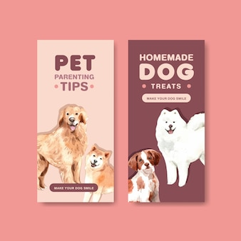Conjunto de modelo de folheto de propaganda de cachorro em aquarela
