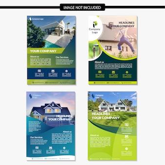 Conjunto de modelo de folheto imobiliário moderno