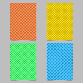 Conjunto de modelo de fundo de capa pontilhada colorida - design de plano de página com padrão de círculo
