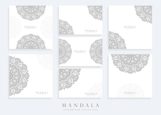 Conjunto de modelo de fundo de mandala e modelo de cartão de mandala