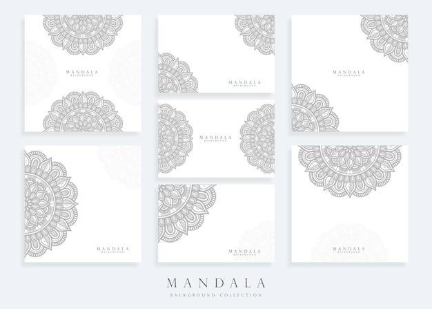Conjunto de modelo de fundo de mandala e modelo de cartão de mandala Vetor Premium