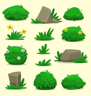 Conjunto de modelo de grama de rock arbusto fantasia isolado dos desenhos animados