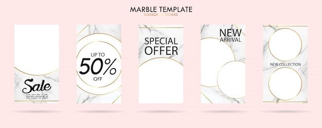 Conjunto de modelo de histórias de mídia social pacote com textura de mármore na moda de luxo