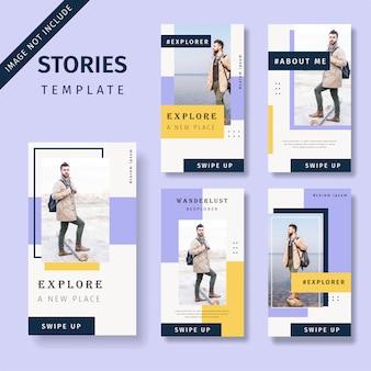 Conjunto de modelo de histórias de mídias sociais de promoção