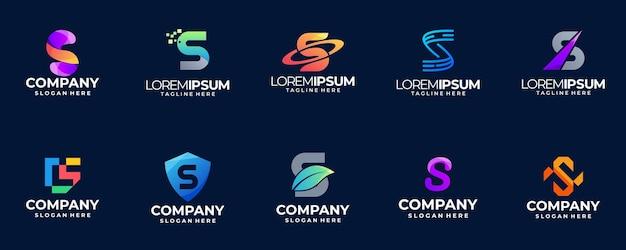 Conjunto de modelo de ícone de logotipo de letra inicial abstrato colorido
