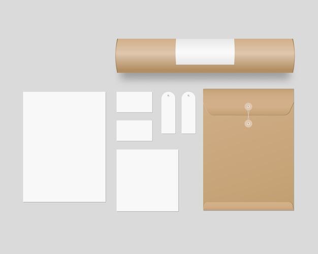 Conjunto de modelo de identidade corporativa. artigos de papelaria comercial com envelope, papel, cartões de visita, tubo de papel, etiquetas de preço. . template. ilustração realista.