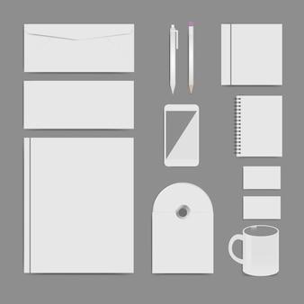 Conjunto de modelo de identidade corporativa, design de marca, modelo em branco