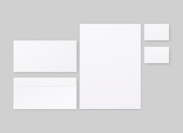 Conjunto de modelo de identidade corporativa. papelaria comercial com envelope, papel, cartões de visita. . template. ilustração realista.