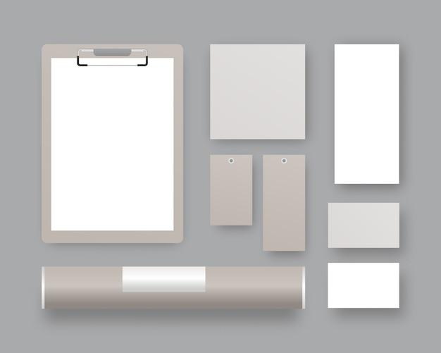 Conjunto de modelo de identidade corporativa. papelaria comercial com prancheta, papéis, cartões de visita, etiquetas de preço, tubo de papel. . template. ilustração realista.
