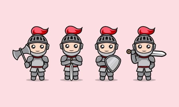 Conjunto de modelo de ilustração de design de mascote de cavaleiro fofo