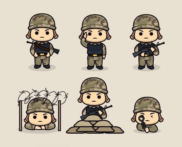 Conjunto de modelo de ilustração de design de mascote de soldado bonito do exército