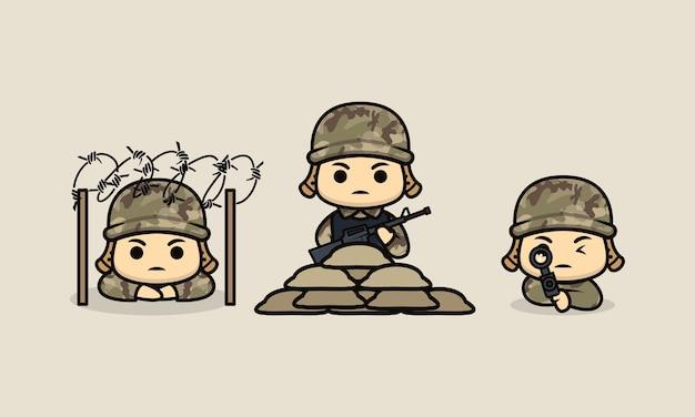 Conjunto de modelo de ilustração de design de mascote de soldado de exército fofo