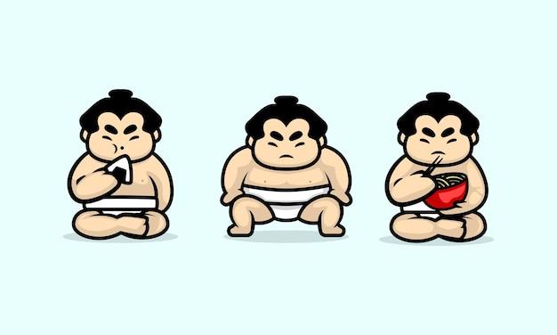 Conjunto de modelo de ilustração de design de personagem fofa de sumô