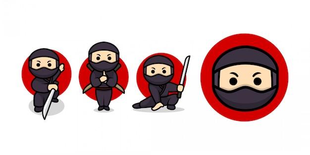 Conjunto de modelo de ilustração de personagem ninja fofo
