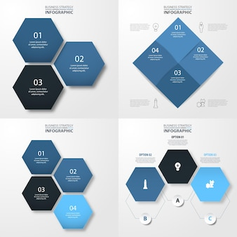 Conjunto de modelo de infografia moderna