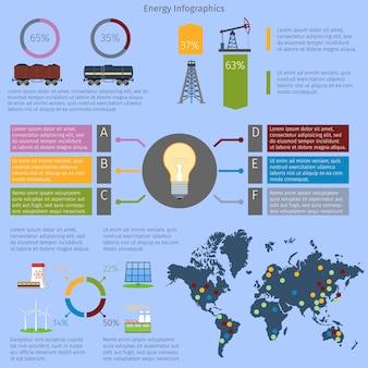 Conjunto de modelo de infográfico de energia