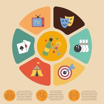 Conjunto de modelo de infográfico de entretenimentos