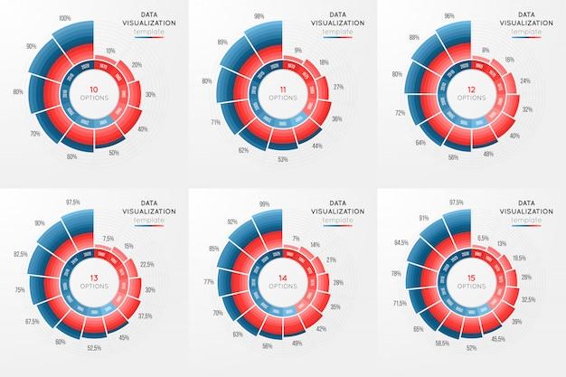 Conjunto de modelo de infográfico de gráfico de círculo de vetor para dados